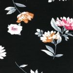 Rayon Spandex Jersey Fabric Floral Print - Black Background