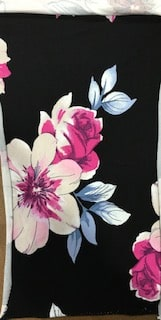 Rayon Spandex Jersey Fabric Floral Print - Black Background 2