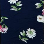 Blue Background Rayon Spandex Jersey Fabric Floral Print
