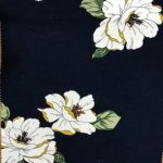 Rayon Spandex Jersey Fabric Floral Print - Blue Background