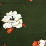 Rayon Spandex Jersey Fabric Floral Print - Bottle Green Background