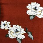Rayon Spandex Jersey Fabric Floral Print - Brown Background