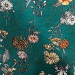 Rayon Spandex Jersey Fabric Floral Print - Cyan Background