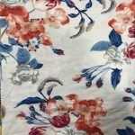 Rayon Spandex Jersey Fabric Floral Print - Ivory Background 1