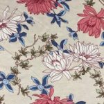 Rayon Spandex Jersey Fabric Floral Print - Ivory Background 2