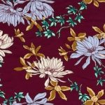 Rayon Spandex Jersey Fabric Floral Print - Purple Background
