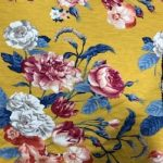 Rayon Spandex Jersey Fabric Floral Print - Yellow Background