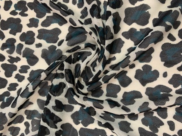 Power mesh fabric cheetah teal