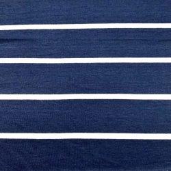Stripe Rayon Spandex Jersey Navy